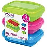 Sistema Boîte à repas–Diverses couleurs, Plastique, coloris assortis, Pack of 3 (200 ml)