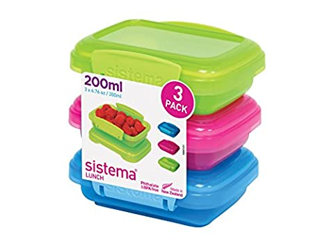 Sistema Lunch Food Storage Containers, 200 ml - Green/Pink/Blue, Pack of 3