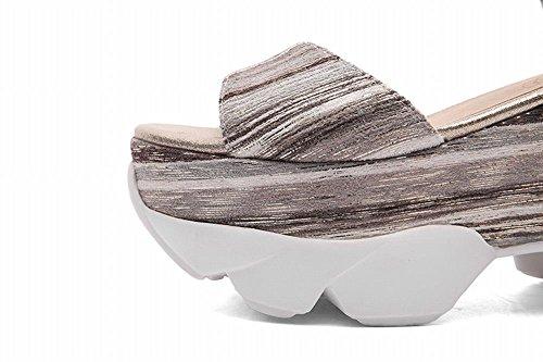 MissSaSa Donna Sandali col Tacco Flatform Alto Fashion Shoes Grey Mix