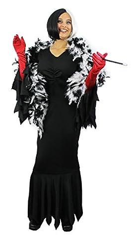 Déguisement de la femme cruelle envers les dalmatiens avec une robe + une perruque coupe carré+ un boa + un fume cigarette + des gants rouges. Idéal pour les enterrements de vie de jeune fille. ( Medium )