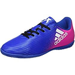 adidas X 16.4 IN, Botas de Fútbol Unisex Niños, Azul (Blue / Ftwr White / Shock Pink), 34 EU