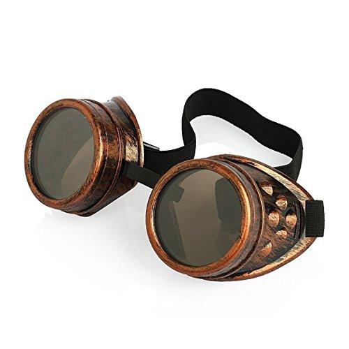 Ultra Bronze mit Hellbraunen Linsen Steampunk Brille Gläsern Cyber Viktorianischer Punk Schweißen Cosplay Goth Round Niet Vintage Rave Neuhei (Schweißen Linsen)