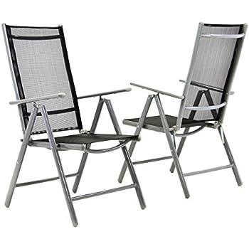Nexos 2 Er Set Stuhl, Klappstuhl, Gartenstuhl, Hochlehner Für Terrasse,  Balkon Camping Festival, Aus Aluminium Verstellbar, Leicht, Stabil, Schwarz