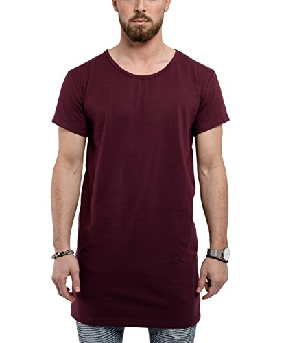 Blackskies Under Basic Longshirt | Langes Oversize Fashion Langarm Herren Layer T-Shirt Long Tee - Weinrot Burgundy Small S -