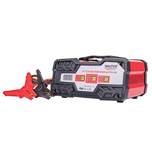 WALTER Auto-Batterieladegerät mit Starthilfe. Schnellladen/Normalladen von 6V & 12V Blei-Säure, 12V AGM, 12V Gelbatterien. Geeignet für kleine und mittlere Fahrzeuge, inklusive Anschlussklemmen