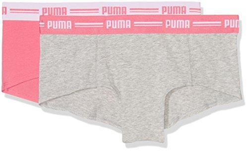 Puma Damen Boxer 573010, 2er Pack Grau (Light Grey Melange/Hot Coral)