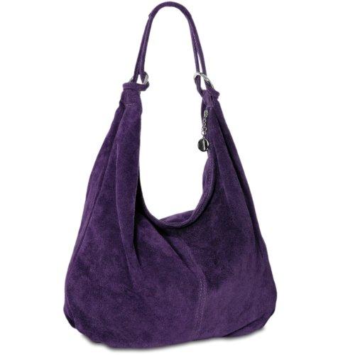 CASPAR TL617 Damen Vintage Veloursleder Tasche / Handtasche / Hobo Bag / Shopper, Farbe:lila - Lila Shopper