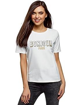 oodji Ultra Mujer Camiseta de Algodón con Inscripción
