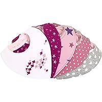 Bavoir bandana bébé fille - lot de 5 - doublé coton éponge et polaire – triangle - pression - mixte rose fuchsia blanc avec motif - nouveau-né 1 mois à 2 3 4 an-s - bavette-s enfant-s dentition