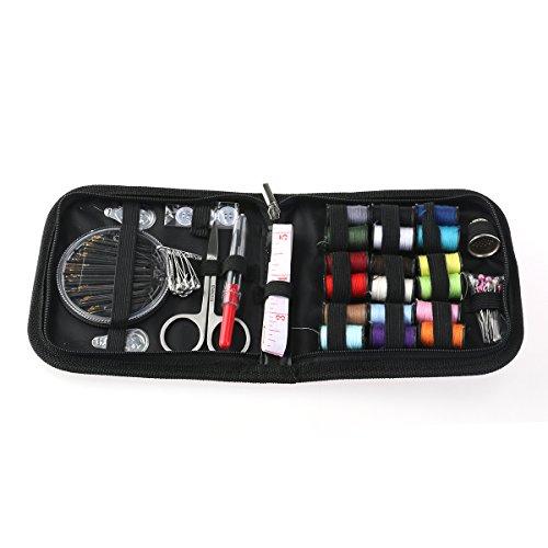 comprare on line ROSENICE Cucito Kit Riparazione Compatto 58pcs Accessori Cucito Aghi Filo Forbici Set con Zipper Bag prezzo