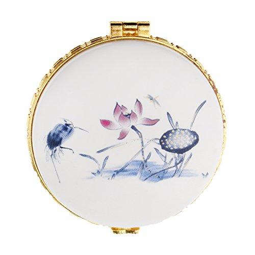 FLAMEER Keramik Lose Puderglas Sahnebox Leere Kosmetische Behälter Fall Schönheit - Blauer Lotus -