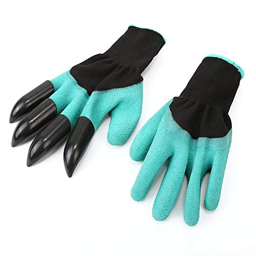 HibiscusElla 2Pcs/1 Pair New Gardening Gloves for Garden Digging Planting with 8 ABS Plastic Claws Digging Planting Latex Work Glove