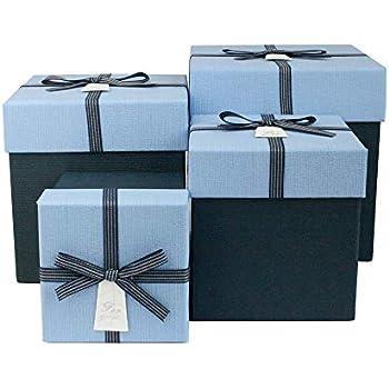 Emartbuy Set Von 3 Starre Luxus Quadratische Pr/äsentations Geschenkbox Rosa Innenraum und Gestreifter Dekorativer Bandbogen Texturiert Schwarze Box mit Schwarzem Deckel