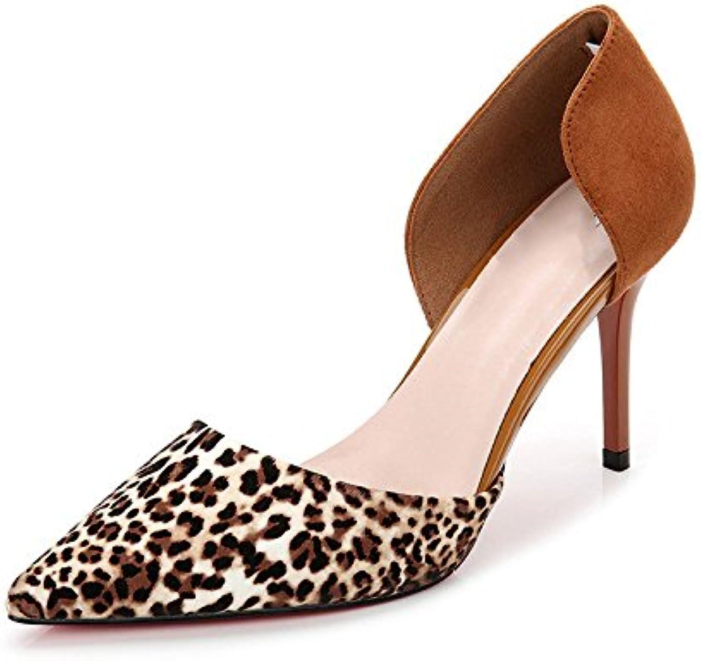 DKFJKI DKFJKI DKFJKI Chaussures pour Femmes Talons Hauts Léopard Sexy Ajouré Peu Profond Couleur MélangéeB07C7BP2QHParent | Belle Qualité  e9a3fb
