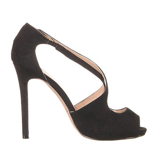 Damen Schuhe, 0475-GL, SANDALETTEN Schwarz