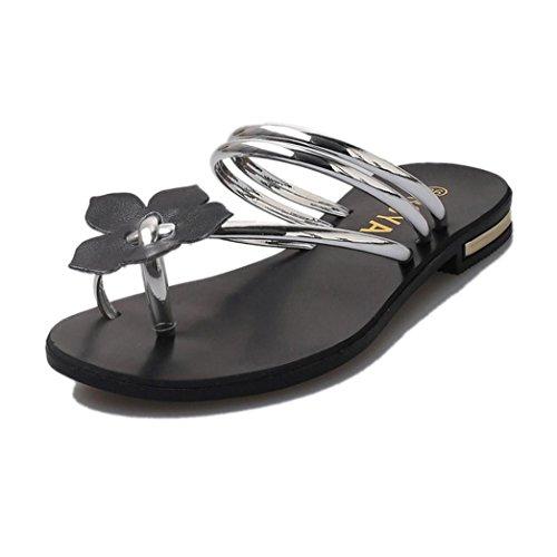 Price comparison product image Women Sandals, Women Bohemia Lady Flower Weave Sandals Beach Peep-Toe Flip Flops Shoes Slippers (40,  Silver)