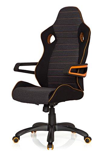 415Pa5%2B1JUL - hjh OFFICE 621850 RACER PRO IV - Silla gaming y oficina, tejido negro/gris/naranja