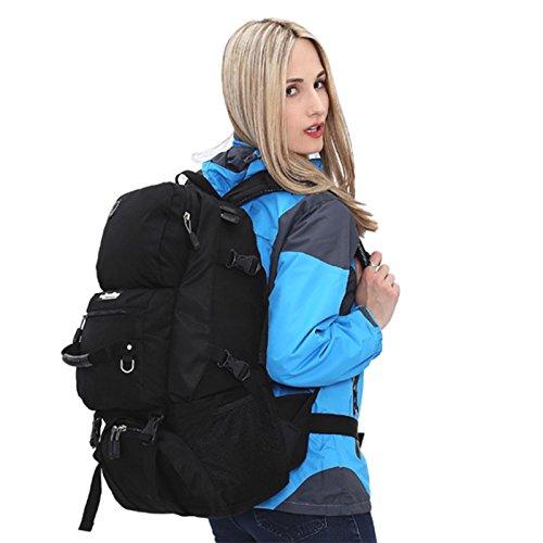 Padgene Groß Outdoor Rucksack Gepäck 40L Wasserdicht Trekkingrucksäcke Backpacker Reiserucksack (Rot) Schwarz