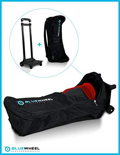 Zaino case6.5 / case10 per skateboard elettrico marchio bluewheel rucksack, borsa di trasporto con 2 ruote, 2 imbottiture ad altezza schiena, cn maniglia & tasca a scomparsa – per 6,5 o 10 pollici