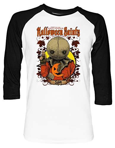 Halloween Saints Sam Unisex Baseball T-Shirt 2/3 Ärmel Herren Damen Weiß Schwarz