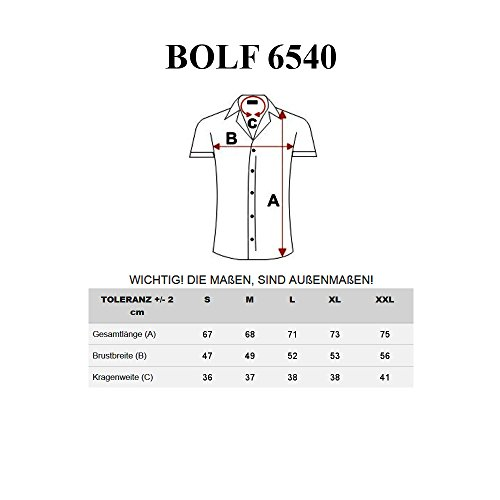 BOLF Herren Hemd Casual Kurzarm Shirt Slim Fit Freizeithemd Men 2B2 Motiv MIX Hellblau_6540