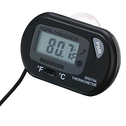 LCD Digital Thermometer für Aquarien,, Teiche Wasser kompakt und robust mit starken Saugnapf für Befestigung mit Sicherheit in Glas.