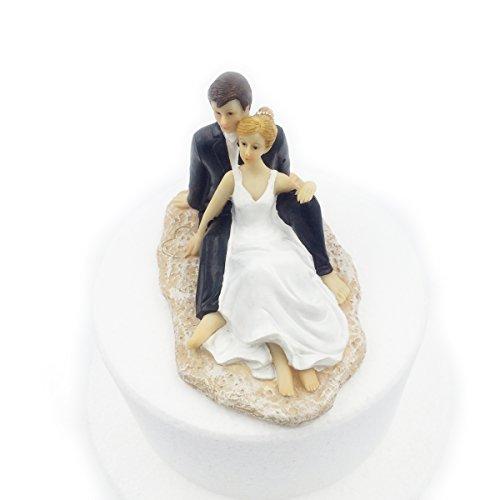 E-muse cake topper matrimonio coppia di sposi sposi sulla spiaggia 5.5 pollici altezza