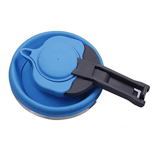 LOUTY Blau 1.2L Portable Silikon zusammenklappbaren Wasserkocher für Tee Kaffee Outdoor Camping Rucksack Reisen faltbare Wasserkocher