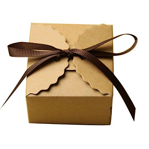 50pz marrone shabby dolci quadrati scatole regalo caramelle scatole di favore di partito di nozze