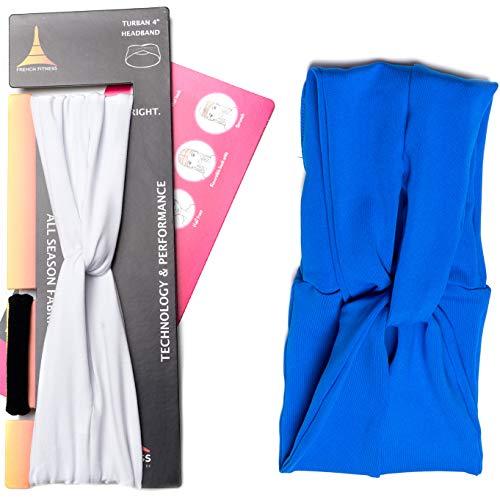 French Fitness Revolution Feuchtigkeitstransport Turban Stirnband für Sport, Laufen, Training und Yoga, isoliert und absorbiert Schweiß, Frauen Haar Band, 2 Pack - Blue & White