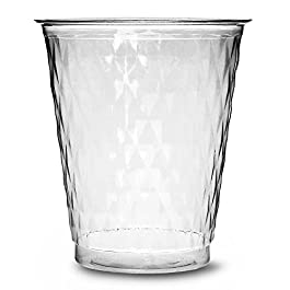Bicchieri da festa usa e getta, trasparenti in stile diamante, 250ml, pacco da 50