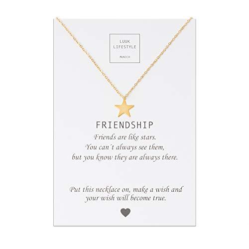 LUUK LIFESTYLE Edelstahl Halskette mit Anhänger und Friendship Spruchkarte, Glücksbringer, Freundschaftskette, Damen Schmuck - Stern Halskette - Gold