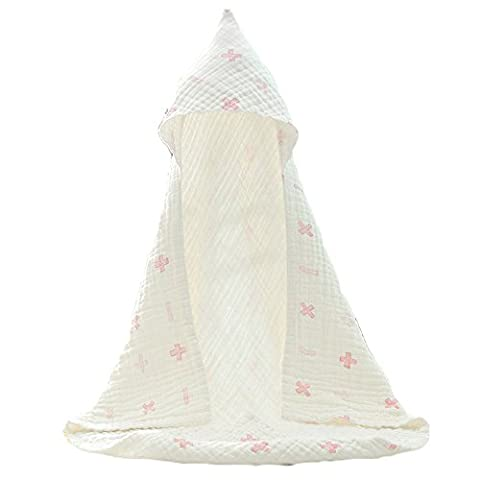 BingHang 85*85cm Organic Muslin Cotton Hooded Baby Bath Towel Ultrasoft 6 Layers Best gift for Baby