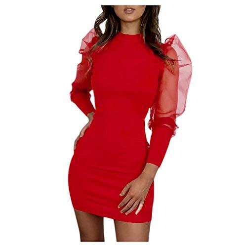 serliyDamen Sexy Transparent Tüll Mesh Oberteile Bluse Body T-Shirt Perspektive Ineinander greifen-Hülsen-beiläufiges Minikleid