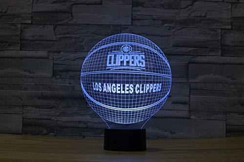 Lampe der Illusions-3D führte Nachtlicht, USB trieb 7 Farben an, die Noten-Schalter-Schlafzimmer-Dekorations-Beleuchtung für Kinderweihnachtsgeschenk blinken, Basketball Clippers -
