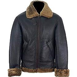 UNICORN Hommes peau de mouton aviateur Veste Brun avec Brun fourrure en cuir Manteau #S7 Taille 40