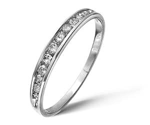 Bague Femme - Or Blanc 375/1000 (9 Cts) 1.05 Gr - Diamant 0.02 Cts - T 46.5