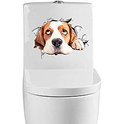 Vinilo decorativo pegatina WC para el baño puerta, Pegatina Impermeable 3D decoracion,Etiqueta de La Pared PVC Adhesivo Decorativo Perros y Gatos para Inodoro,Refrigerador,Frigorífico (perro 02)
