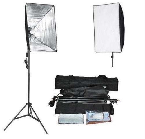 Alu Studioleuchte mit Stativ, Softbox und Leuchtmitteln