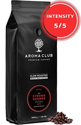 Aroma Club kaffeebohnen 1kg - Strong George Dark Röstung - Brasilianisch - Slow Roast - UTZ Certified & CO2 Neutral (Super Automatische Espresso-maschine)