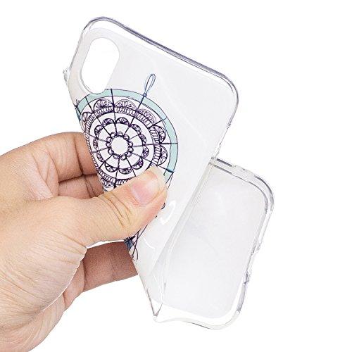 Custodia iPhone X Cover Silicone , YIGA Testa del cranio Moda Nottilucenti Luminoso Trasparente Silicone Morbido TPU Case Custodia per Apple iPhone X (5.8) YG-XS86