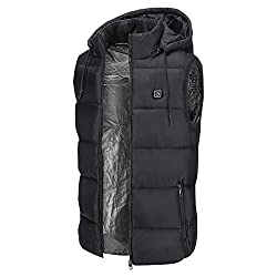 Sidiou Group Adjustable USB Electric Heated Vest Temperature Heating Clothing Down Jacket Hoodie Winter Heating Waistcoat Gilet Vest for Men and Women(Not Include Mobile Power) (Black, Medium)