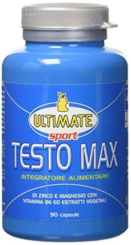 Testo max - integratore per forza, potenza, vigore – stimola la produzione naturale di testosterone – con tribulus terrestris, discorea, fieno greco, zinco, magnesio - 90 capsule - ultimate italia