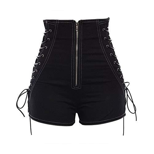 WUJIANCHAO Shorts Frauen Shorts Casual Gothic Sexy Club Punk Hip Hop Gerade Dünne Hohe Taille Plain Zipper Schwarz Kühle Weibliche Sommer Shorts Schwarz