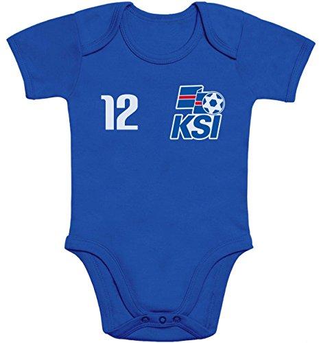 Shirtgeil Baby Fan-Trikot für Island Weltmeisterschaft 2018 Baby Body Kurzarm-Body 57/68 (3-6M) Blau