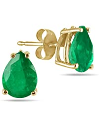 All-Natural Genuine 7x5 mm, Pear Shape Emerald earrings set in 14k Yellow gold