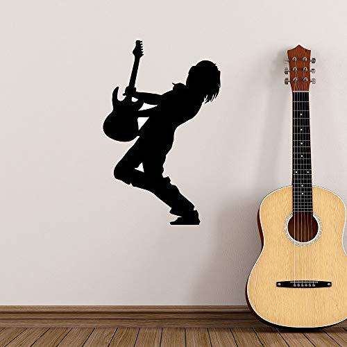 fenshop Musik Gitarrist Wandaufkleber Musikstil Silhouette Rockstar Dekoration Musikhaus Entfernbare Wandkunst Wandbild 36x57 cm