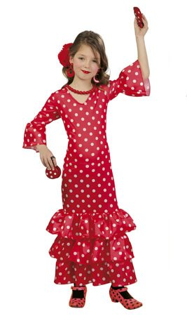 Imagen de disfraz de flamenca rojo para niñas
