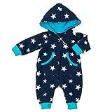 Baby Sweets Overall Jungen Schwarzblau türkis | Motiv: Sterne | Babystrampler mit Kapuze für Neugeborene & Kleinkinder | Größe: 1 Monat (56) ...