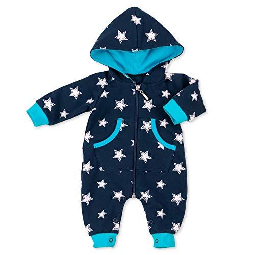 Baby Sweets Overall Jungen Schwarzblau türkis | Motiv: Sterne | Babystrampler mit Kapuze für Neugeborene & Kleinkinder | Größe: 1 Monat (56) ... -